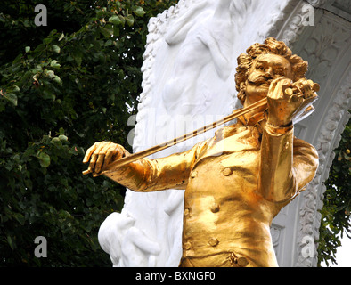 Johann Strauss II Statue in the Stadtpark Vienna Austria - Stock Photo