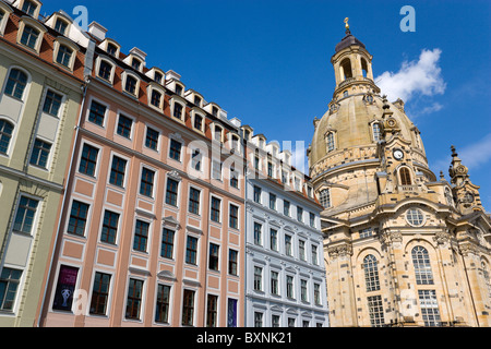 GERMANY Saxony Dresden Restored Baroque Frauenkirch Church of Our Lady and surrounding restored buildings in Neumarkt - Stock Photo