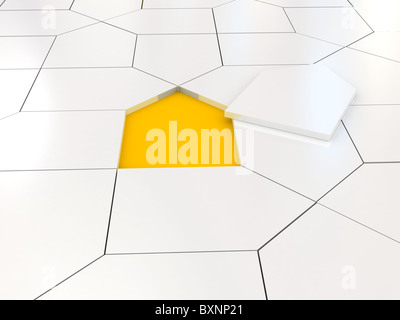 White house puzzle over orange - Stock Photo