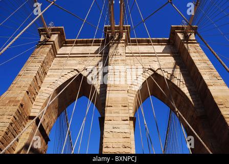 New York City Brooklyn Bridge in Manhattan closeup. - Stock Photo