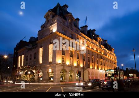 Dusk at The Ritz Hotel, London, Uk - Stock Photo