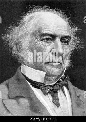Portrait of William Ewart Gladstone, British Prime Minister and Liberal Politician; Black and White Illustration; - Stock Photo