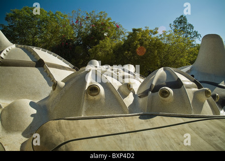 Hussain Doshi Gufa underground art gallery designed by architect B V Doshi, Ahmedabad, Gujarat, India - Stock Photo