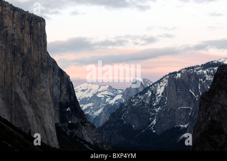 yosemite valley as seen from tunnel view with el capitan and half dome sunset - Stock Photo