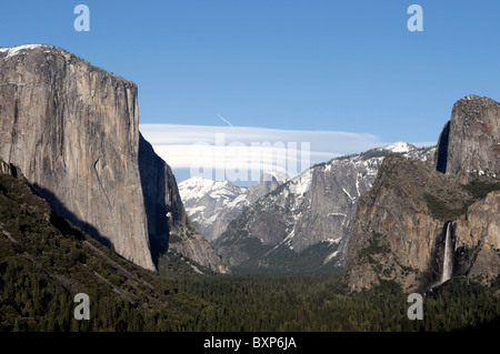 yosemite valley as seen from tunnel view with el capitan half dome and bridalveil falls - Stock Photo