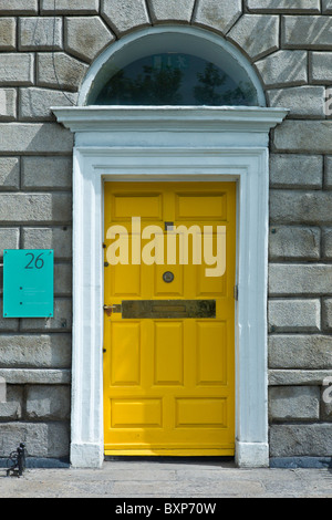 Georgian architectural style front door and doorway in Merrion Square, Dublin city centre, Ireland - Stock Photo