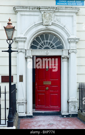 Georgian architecture front door and doorway in Merrion Square, Dublin city centre, Ireland - Stock Photo