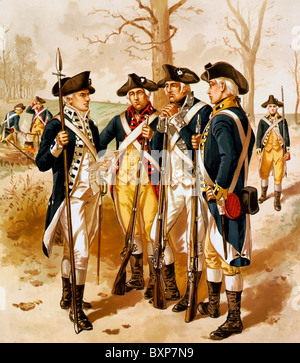 Infantry: Continental Army, 1779-1783, USA revolutionary War - Stock Photo