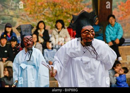 Mask Dance, Hahoe Folk Village, South Korea - Stock Photo