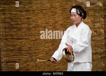 Musician at Mask Dance, Hahoe Folk Village, South Korea - Stock Photo