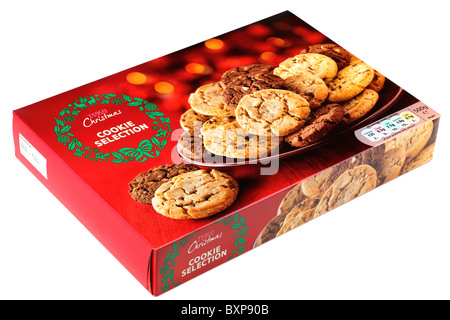 Selection Box Of Biscuits Isolated On A White Studio