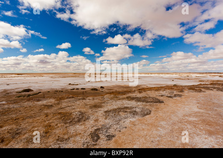 Salt Flats near Blanche Cup Mound Spring on the Oodnadatta Track in South Australia's Outback - Stock Photo