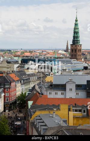 View over Copenhagen, Denmark, Europe,from the Rundetaarn (trans..Round tower) - Stock Photo