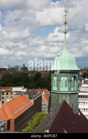 View over Copenhagen, Denmark, from the Rundetaarn (trans..Round tower) - Stock Photo