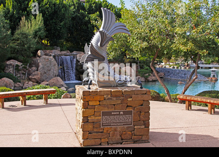 Statue of the Shachi mythical ferocious fish of Japan located in the Japanese Friendship Garden in Phoenix, Arizona - Stock Photo