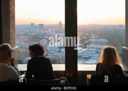panorama cafe on Kollhoff-Tower at Potsdamer Platz in Berlin - Stock Photo