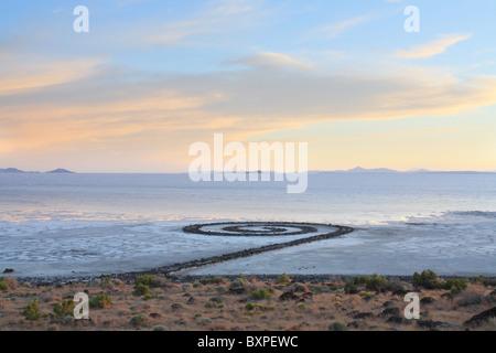 spiral jetty famous earthwork in the Salt Lake of Utah - Stock Photo