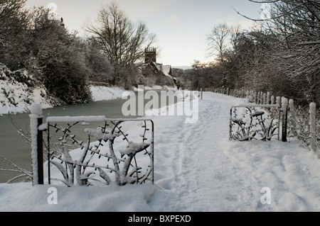 Winter on the Union Canal, at Harrison Park, Edinburgh. - Stock Photo