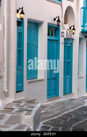 Cobbled street in Chora, Mykonos old town, Cyclades - Stock Photo
