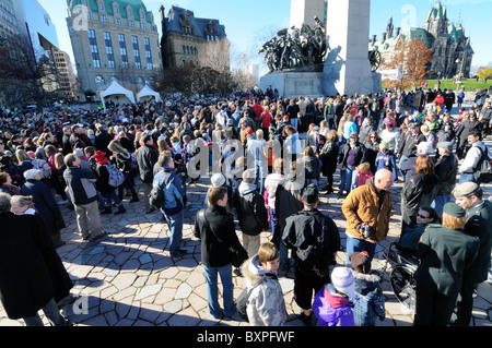 Crowds In Confederation Square At The National War Memorial Ottawa On Remembrance Day 2010 Ottawa, Canada - Stock Photo