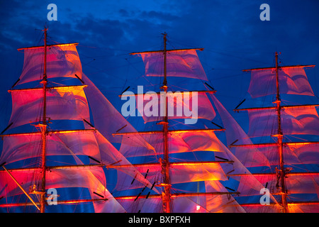 Scarlet sails, Neva river, Saint-Petersburg, Russia - Stock Photo