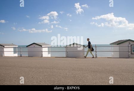 beach buts at bexhill on sea on the east sussex coast - Stock Photo