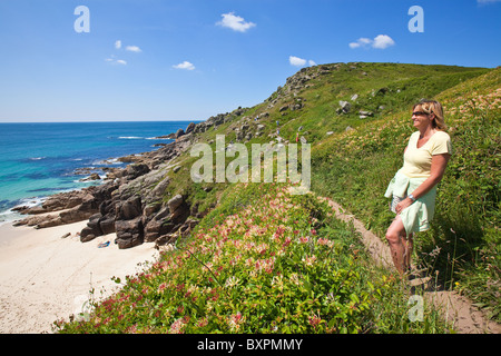 View of Porth Chapel beach near Porthcurno, St Levan, West Cornwall, UK - Stock Photo