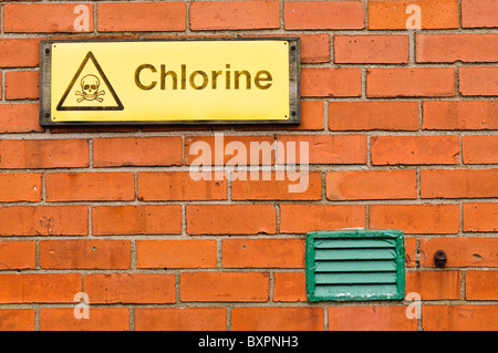 Sign warning about the presence of toxic Chlorine - Stock Photo