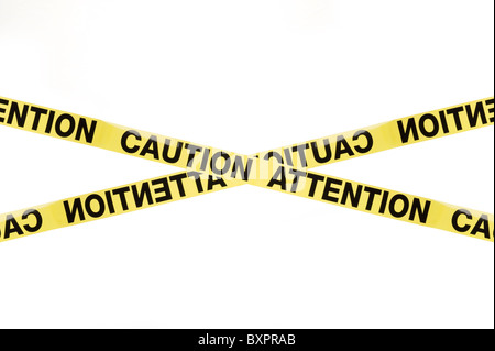 Warning sign Caution Attention, studio isolated on white background - Stock Photo