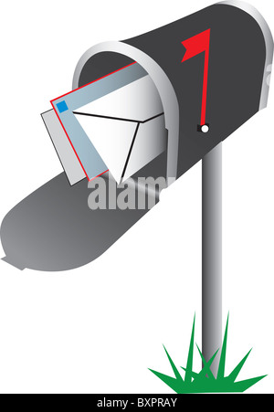 Illustration of an open mailbox with letters visible inside, isolated on a white background. - Stock Photo