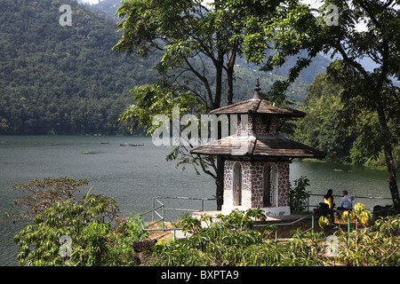 View of a pagoda by the Lakeside or Baidam in the city of Pokhara in Nepal. - Stock Photo