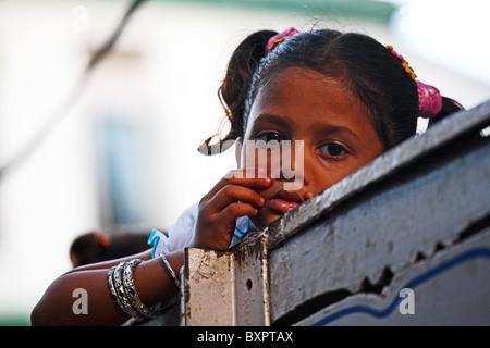 Child on street in Calcutta, India - Stock Photo
