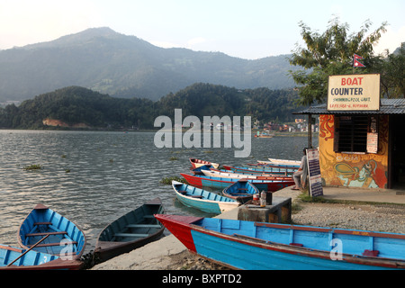 View over Lakeside or Baidam at sunset in the city of Pokhara in Nepal. - Stock Photo