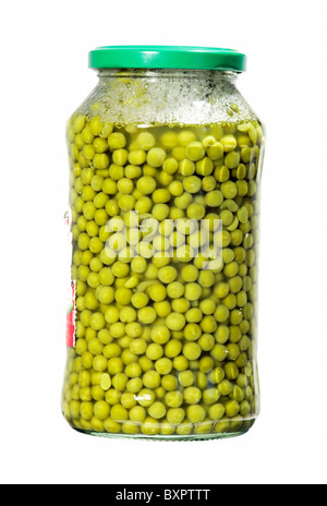 jar with green peas isolated over white - Stock Photo
