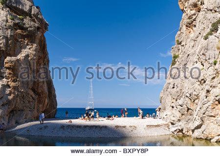 Gorge of the Torrent de Pareis in the mountains of Serra de Tramuntana, Majorca, Balearic Islands, Spain, Europe