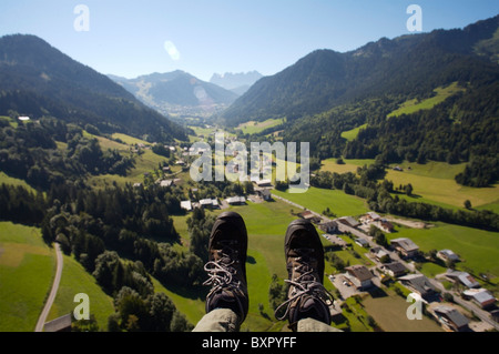 Paraglider's Feet Over Morzine - Stock Photo