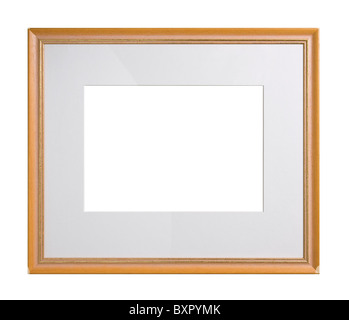 Wooden picture frame with passe-partout, isolated on white - Stock Photo