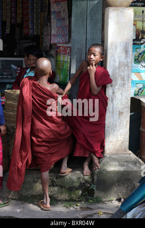 Novice monks in Kalaw, Shan State, Taunggyi District, Myanmar. ( Burma ). - Stock Photo