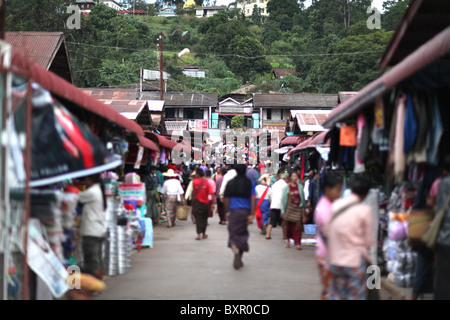 The permanent market in Kalaw, Shan State, Taunggyi District, Myanmar. (Burma) - Stock Photo