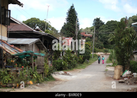 A rural street in Kalaw, Shan State, Taunggyi District, Myanmar. ( Burma ). - Stock Photo