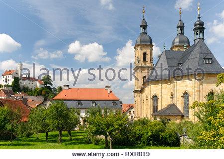 Pilgrimage Church of the Holy Trinity or Goessweinstein Basilica,  Franconian Switzerland, Franconia, Bavaria, Germany - Stock Photo