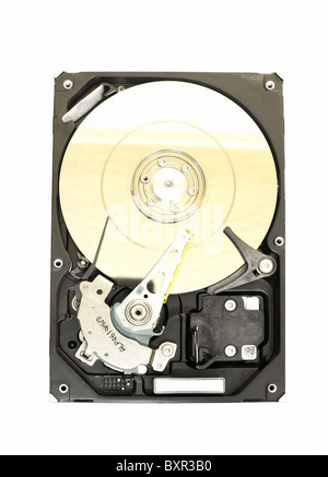 Insides of a computer hard disk - Stock Photo