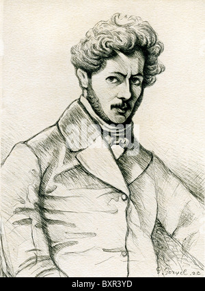 Paul Gavarni (1804-1866) French Artist & Charicaturist (c19th Portrait Engraving) - Stock Photo