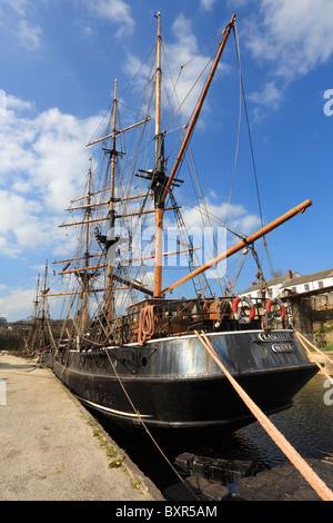 Tall Ships in Charlestown Harbour on the South Coast of Cornwall - Stock Photo