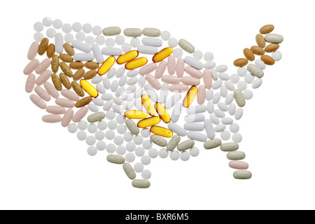 rough map of the USA country made of many pills isolated on white - Stock Photo