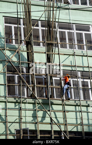 Bamboo scaffolding used in building and construction in Hong Kong, China - Stock Photo