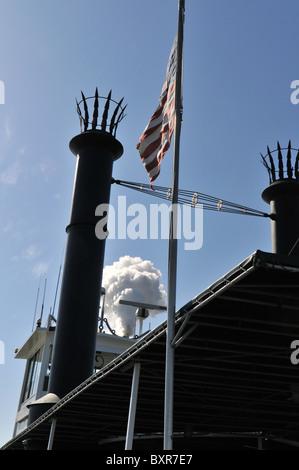 Smokestack of Steamer Natchez, Mississippi River, New Orleans, Louisiana - Stock Photo