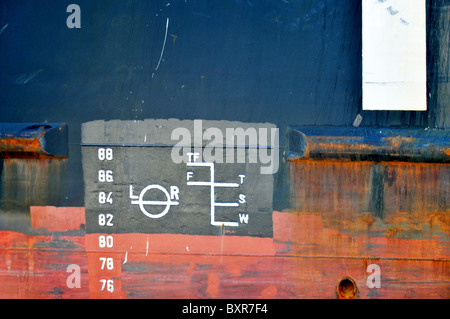 Plimsoll load line on side of ship, Mississippi River, New Orleans, Louisiana - Stock Photo