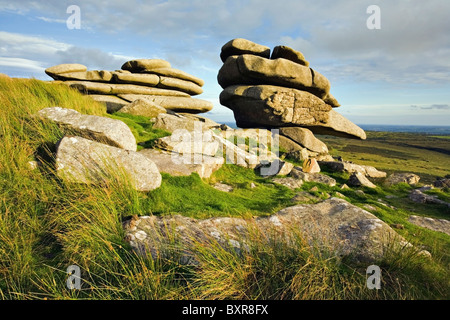 The Cheesewring Stowes Hill on Bodmin Moor in Cornwall - Stock Photo