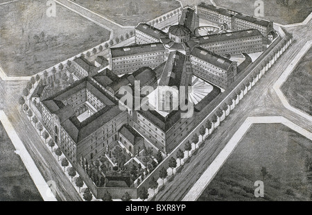 Model Prison, 1904. Projected by architects Joseph Domenech Estapa and Salvador Viñals. Drawing. - Stock Photo